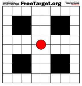 Red Dot 1 inch Grid Target