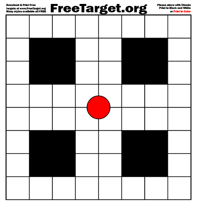 Red dot 1 inch grid target - download it free at FreeTarget.org
