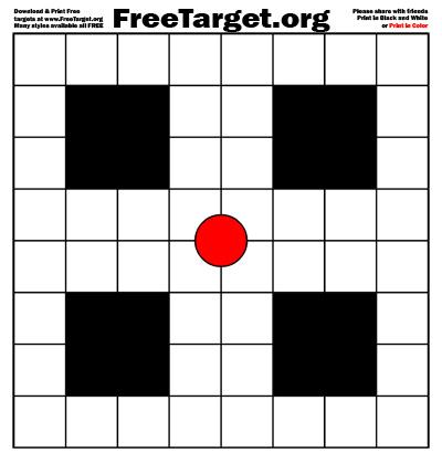 Red dot 1 inch grid target - download it free at FreeTarget.org