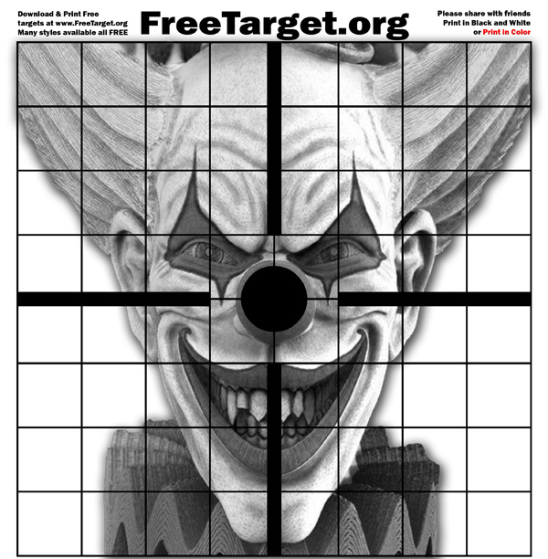 Evil Clown Black Dot 1 inch Grid Target for Laser Printers
