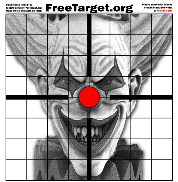 Evil Clown Red Dot 1 inch Grid Target