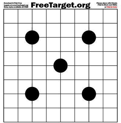 Black 4 Dot 1 inch Grid Target