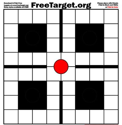 Red Dot 1 inch Grid 4 black SQR Target