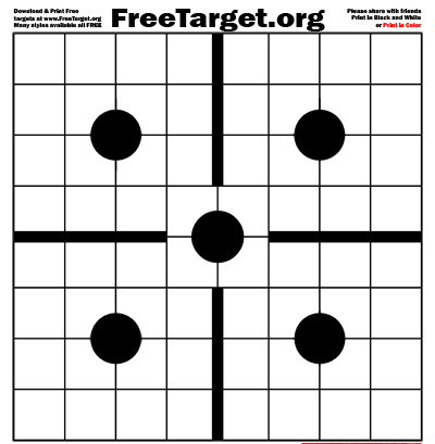 Black 5 Dot 1 inch Grid Center Cross Target