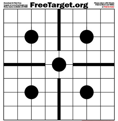 Black 5 Dot 1 inch Grid Center Cross Target