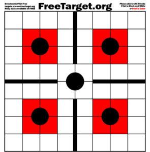 Black 5 Dot 1 inch Grid Red SQR Target