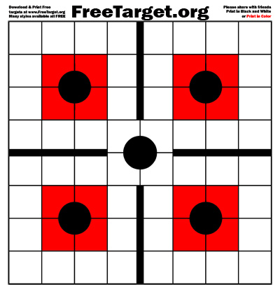 Black 5 Dot 1 inch Grid Red SQR Target - download it free