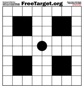 Black Dot 1 inch Grid 4 SQR Target