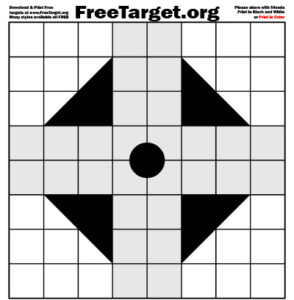 Black 1 Dot 1 inch Grid Triangle Cross Target
