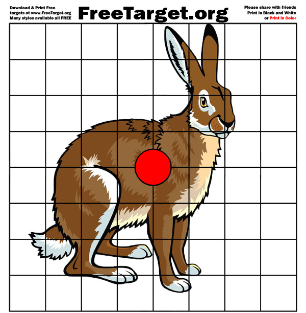 picture regarding Printable Squirrel Target identify Jack Rabbit Crimson Dot 1 inch grid aim