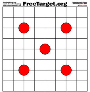 Red 4 Dot 1 inch Grid Target