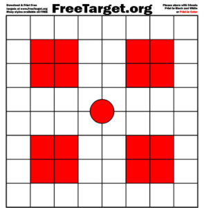 Red Dot 1 inch Grid 4 Red SQR Target