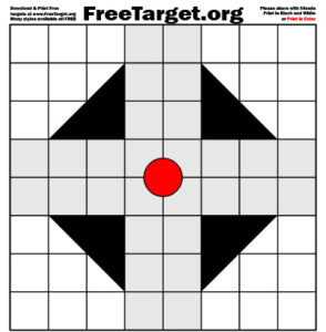 Red Dot 1 inch Grid Triangle Cross Target