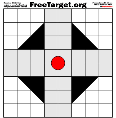 Red Dot 1 inch Grid Triangle Cross Target - free download
