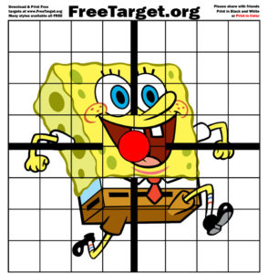Sponge bob Red Dot 1 inch Grid Target