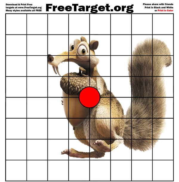 picture relating to Printable Squirrel Target titled Squirrel Purple Dot 1 inch grid focus  - Absolutely free