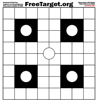 White 4 Dot 1 inch Grid Target