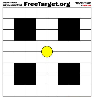 Yellow Dot 1 inch Grid 4 SQR Target